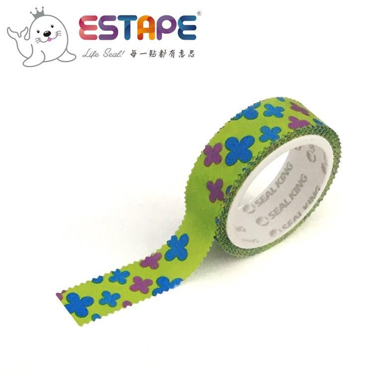 【ESTAPE】幾何系列裝飾膠帶-幸運草款(手帳/裝飾/拼貼/標籤/重複貼黏)