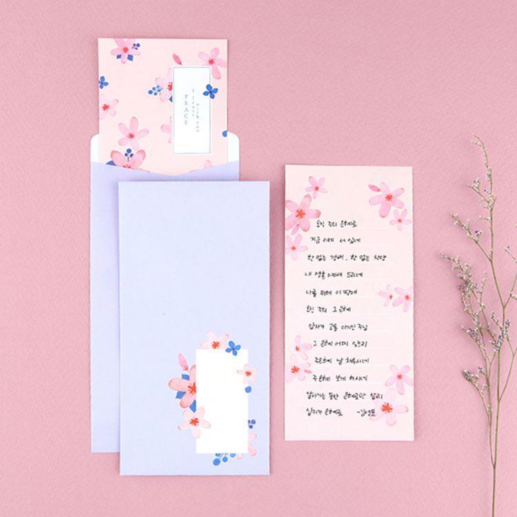 Flower花朵信紙組 03.淺粉