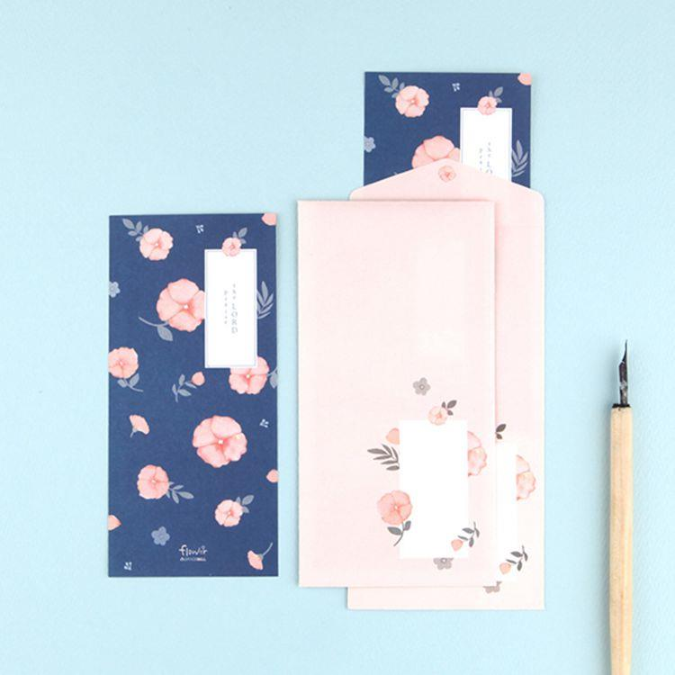 Flower花朵信紙組 04.深藍