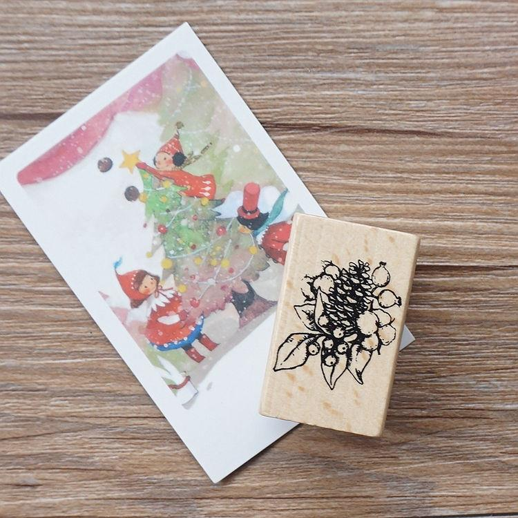 聖誕系列木質印章-02.果實(單枚入)