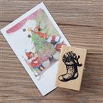 聖誕系列木質印章-03.禮物襪子(單枚入)