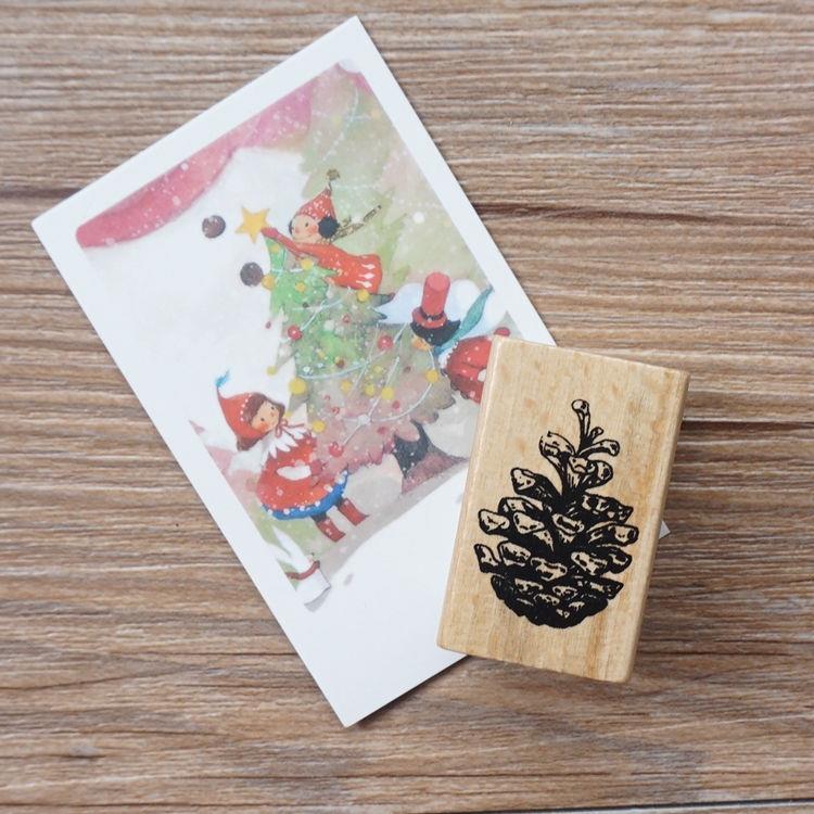 聖誕系列木質印章-04.松果(單枚入)