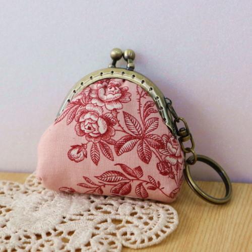 手縫ok!-口金鑰匙圈B款-古典紅(拼布材料包)