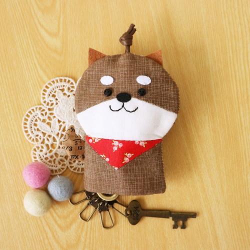 手縫ok!-柴犬鑰匙包(拼布材料包)