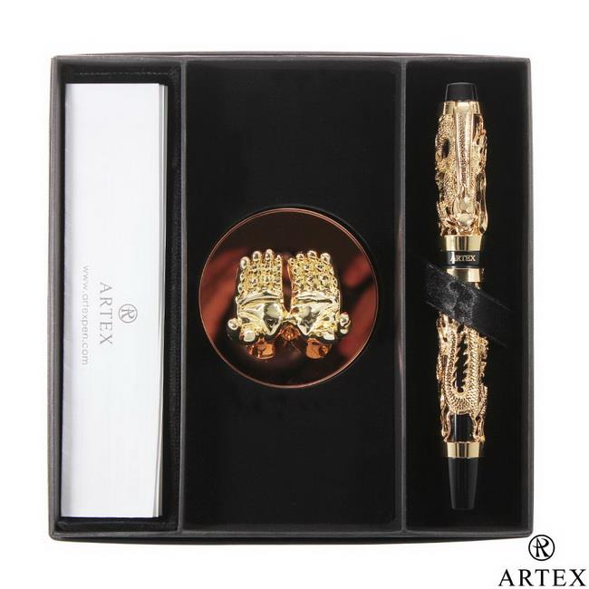 ARTEX 封印龍鋼珠筆 雙手造型筆座/金 禮盒 亮金