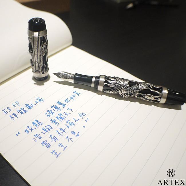ARTEX 封印龍鋼筆 雙手造型筆座/銀 禮盒 古銀