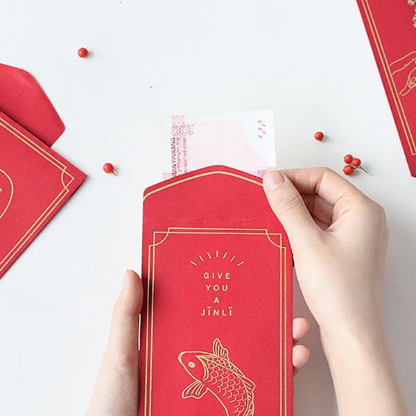 信的戀人傳統系列英文祝福金邊框蝴蝶結燙金紅包袋-送你錦鯉(6入)