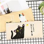 日文物語貓咪的生活帆布筆袋/鉛筆盒(撲撲貓)