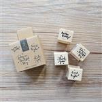 木質橡膠印章 05.美好生活套裝(4入/套)-包裝系列