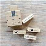 木質橡膠印章 01.分隔線套裝(4入/套)-手帳功能系列
