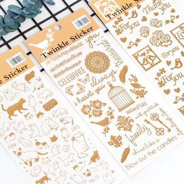 金色簍空愛心小鳥貓咪手帳裝飾貼紙(愛心小鳥)