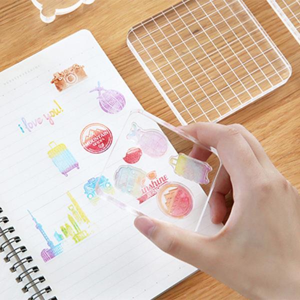 DIY日記印章配件壓克力板(10**10cm)-網格正方