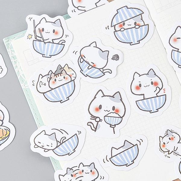 糖詩一碗貓盒裝貼紙(45入)
