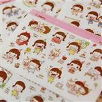 韓國可愛小妞歡樂生活卡通日記貼紙[2入](隨機出貨)