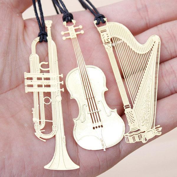 交響樂!韓國現代古典樂器金屬鏤空書籤(隨機出貨)
