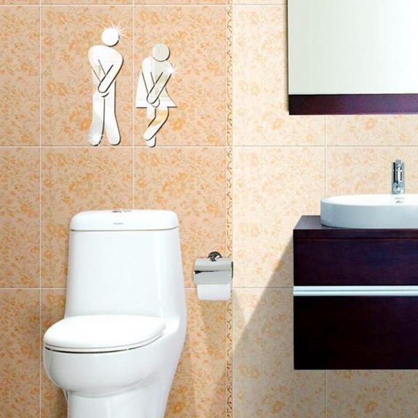 閃亮3D水晶鏡面男女廁所標示貼紙(隨機出貨)