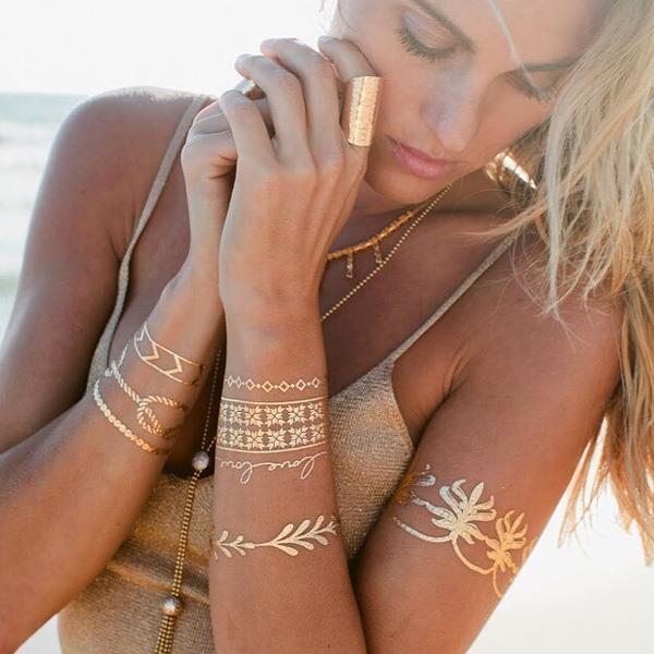 歐美時尚燙金復古紋身貼紙(4號-T001)