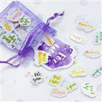 糖詩心情英文紫色紗袋貼紙