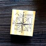 木質橡膠印章 02.指南針-復古手稿系列