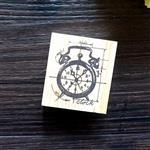 木質橡膠印章 05.時鐘-復古手稿系列