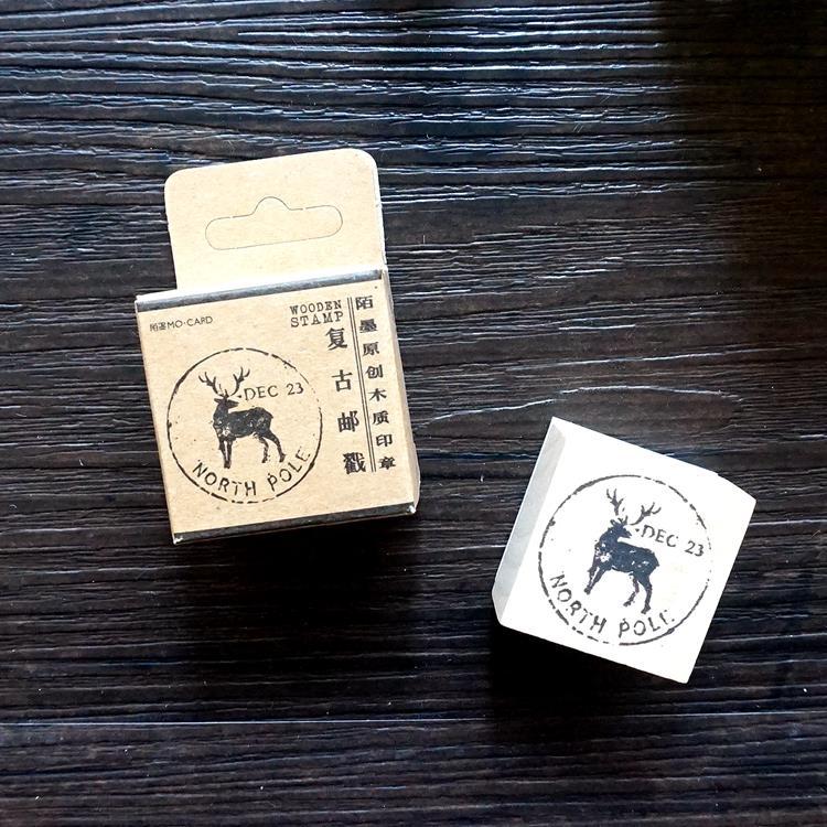 木質橡膠印章 03.北歐小鹿-復古郵戳系列