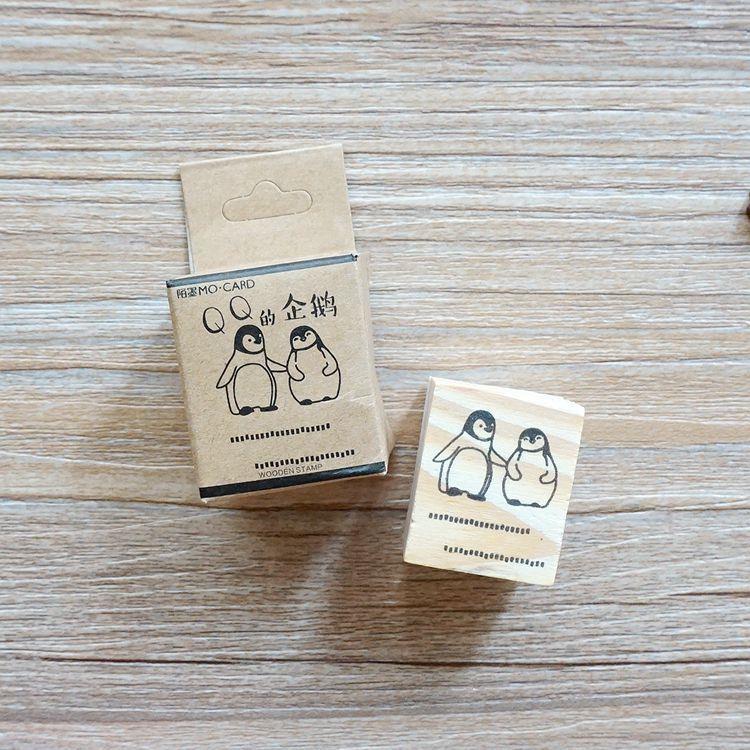 木質橡膠印章 06.卡娃依的企鵝-動物日記系列