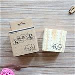 木質橡膠印章 10.大臉的小象-動物日記系列