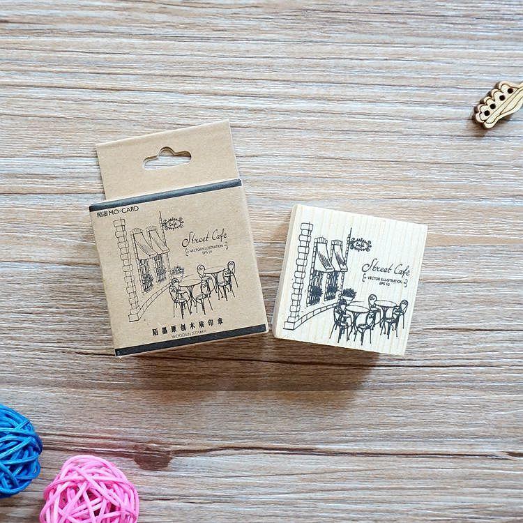 木質橡膠印章 01.露天咖啡廳-咖啡店系列