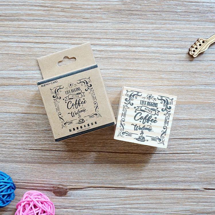 木質橡膠印章 04.悠閒時光-咖啡店系列