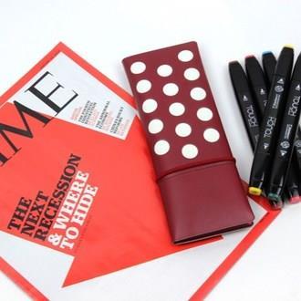 【FENICE】點點造型對開筆袋-紅