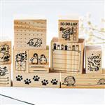 小動物日記木頭印章[20*30、25*30mm](快樂的小熊)
