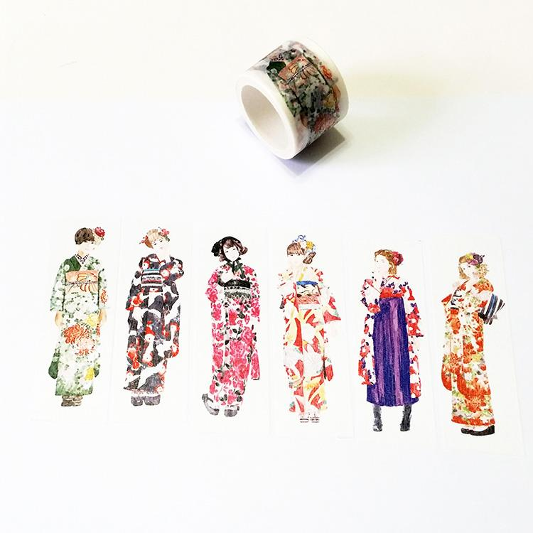 麒麟紙膠帶 和服娃娃
