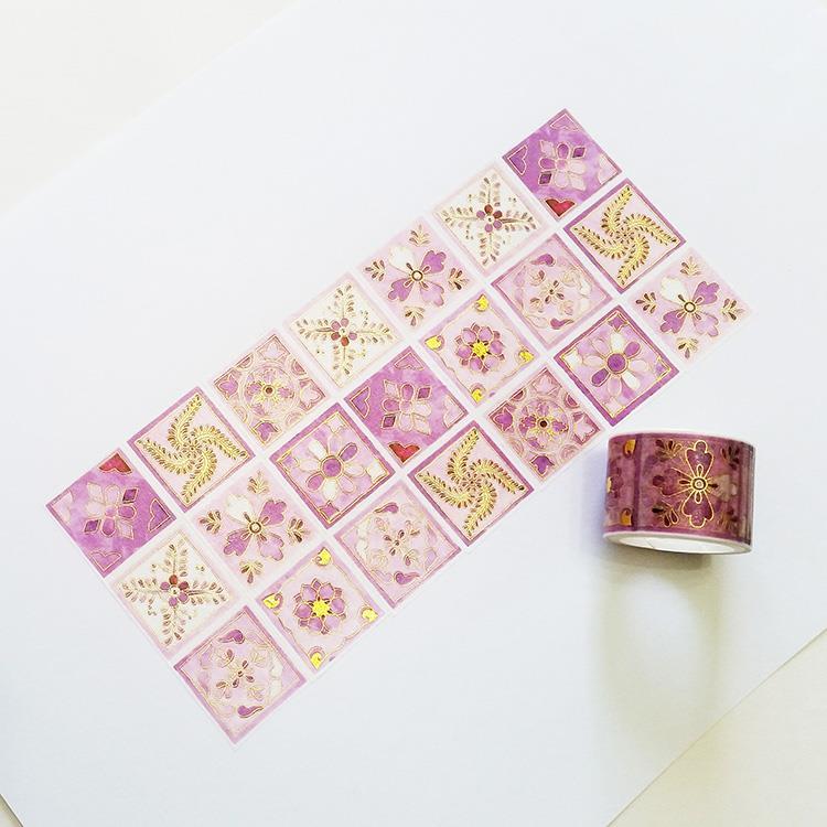 麒麟紙膠帶 燙金水彩紫花磚