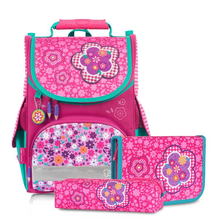 Tiger Family小貴族超輕量護脊書包+文具袋+鉛筆盒-粉格碎花
