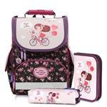 Tiger Family小貴族超輕量護脊書包+文具袋+鉛筆盒-單車少女