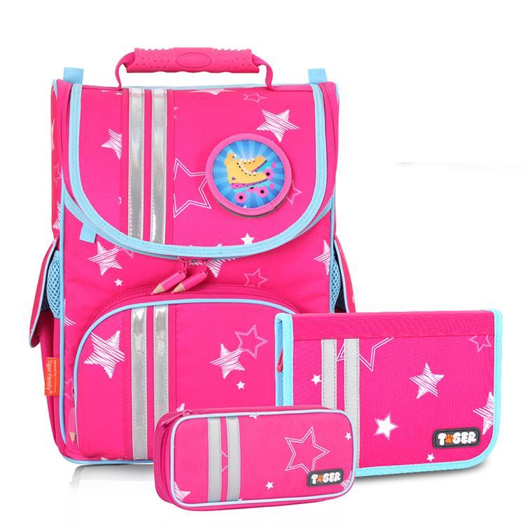Tiger Family小貴族超輕量護脊書包+文具袋+鉛筆盒-粉紅星星