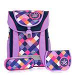 Tiger Family學院風超輕量護脊書包+文具袋+鉛筆盒-優雅紫