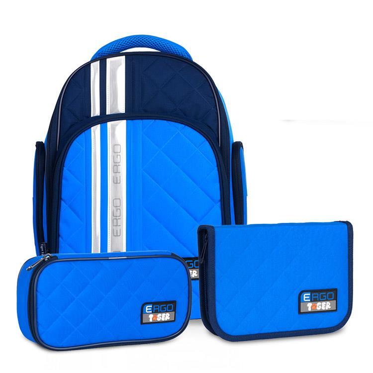 Tiger Family彩虹超輕量護脊書包(撞色款)+文具袋+鉛筆盒-海軍藍