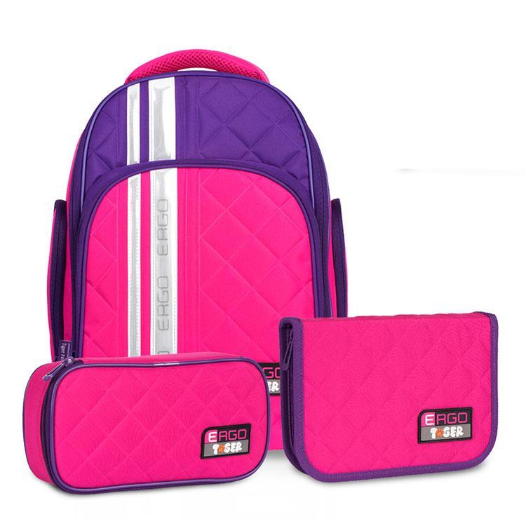 Tiger Family彩虹超輕量護脊書包(撞色款)+文具袋+鉛筆盒-玫瑰红