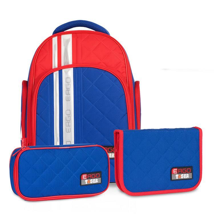 Tiger Family彩虹超輕量護脊書包(撞色款)+文具袋+鉛筆盒-道奇藍