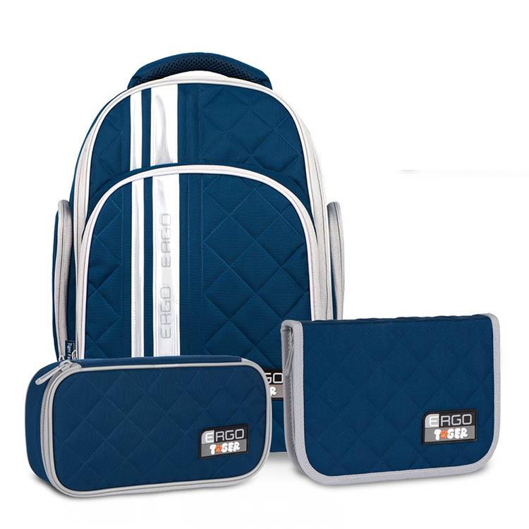 Tiger Family彩虹超輕量護脊書包+文具袋+鉛筆盒-湖水藍