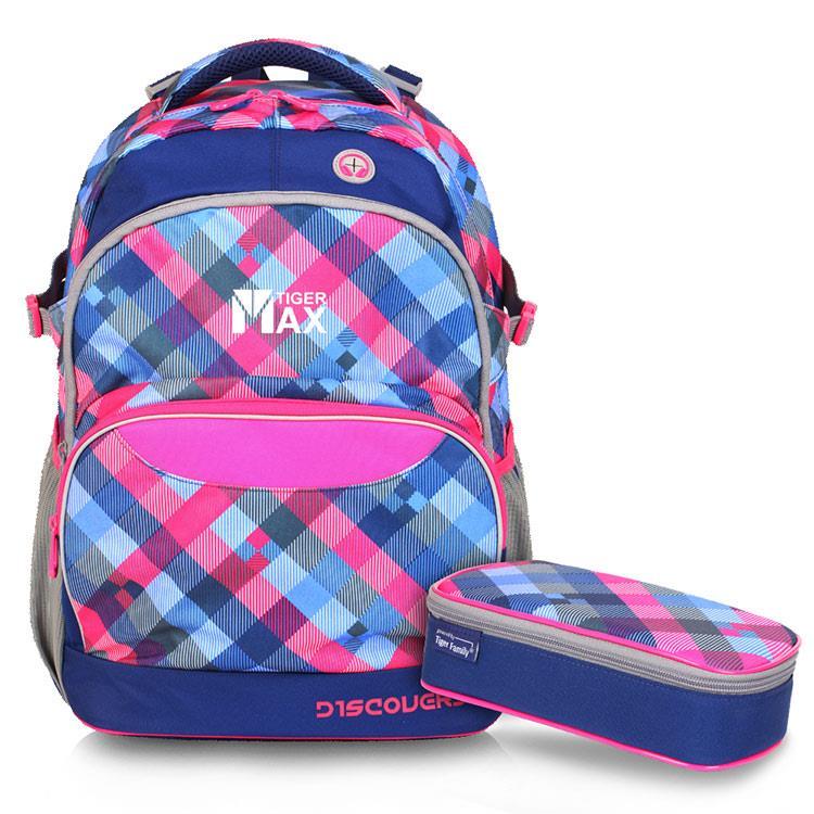 Tiger Family探險家調整型超輕量護脊書包+鉛筆盒-藍莓方格