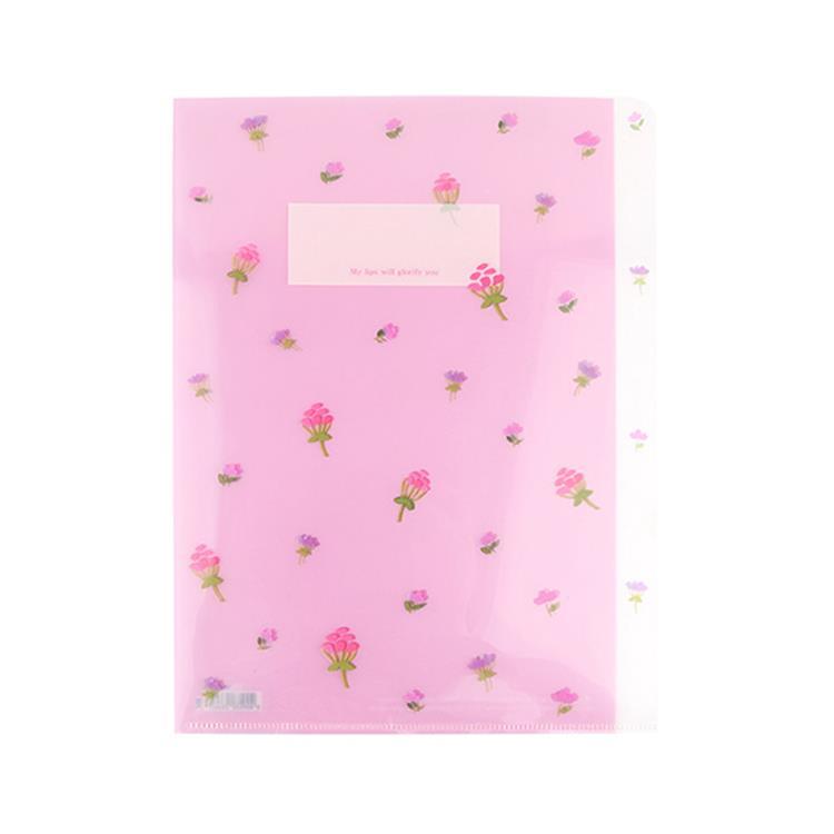 韓國GRACEBELL-Flower花朵系列3層資料夾01.苺果紅