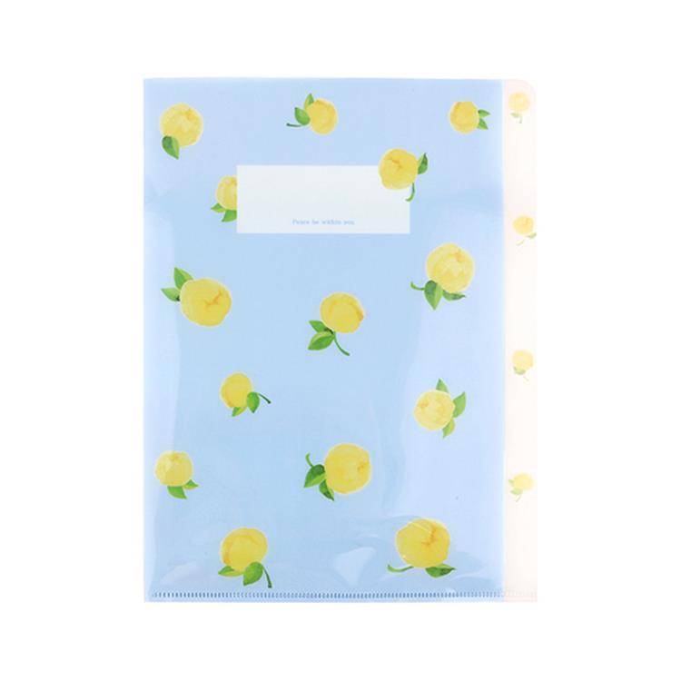 韓國GRACEBELL-Flower花朵系列3層資料夾02.雪紡藍
