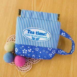 手縫ok!-咖啡杯口夾小包(藍)(拼布材料包)