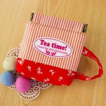 手縫ok!-咖啡杯口夾小包(粉)(拼布材料包)
