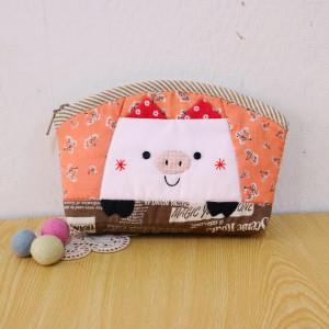 手縫ok!-粉紅豬拼接筆袋(拼布材料包)