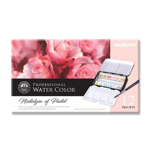 韓國 MUNGYO MWPH-12PT 專家級 塊狀水彩 粉彩 12色 鐵盒裝
