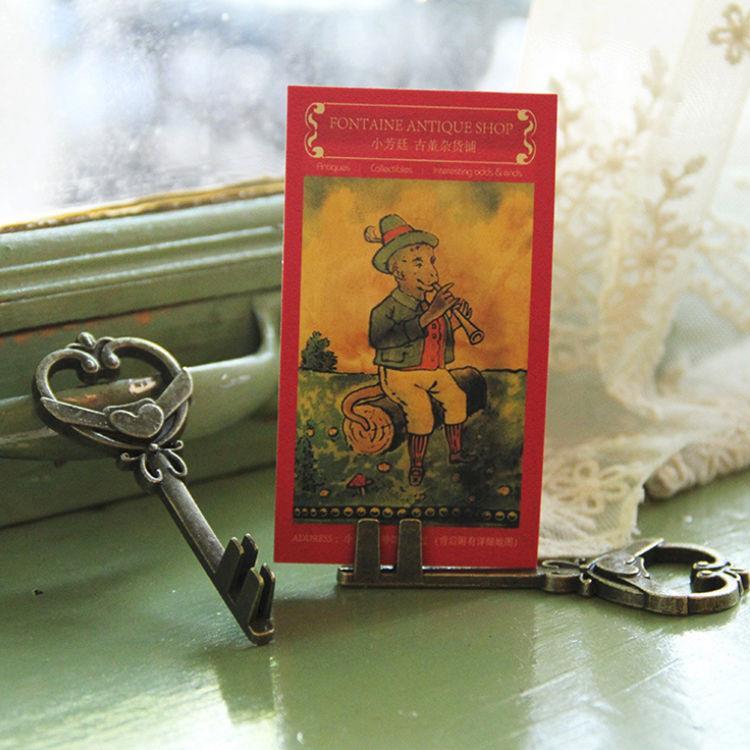 鑰匙造型古銅名片/拍立得立夾(插槽式)