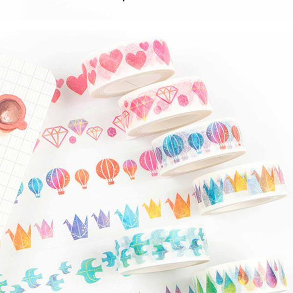 千紙鶴熱氣球水彩系列和紙膠帶(飛鳥)